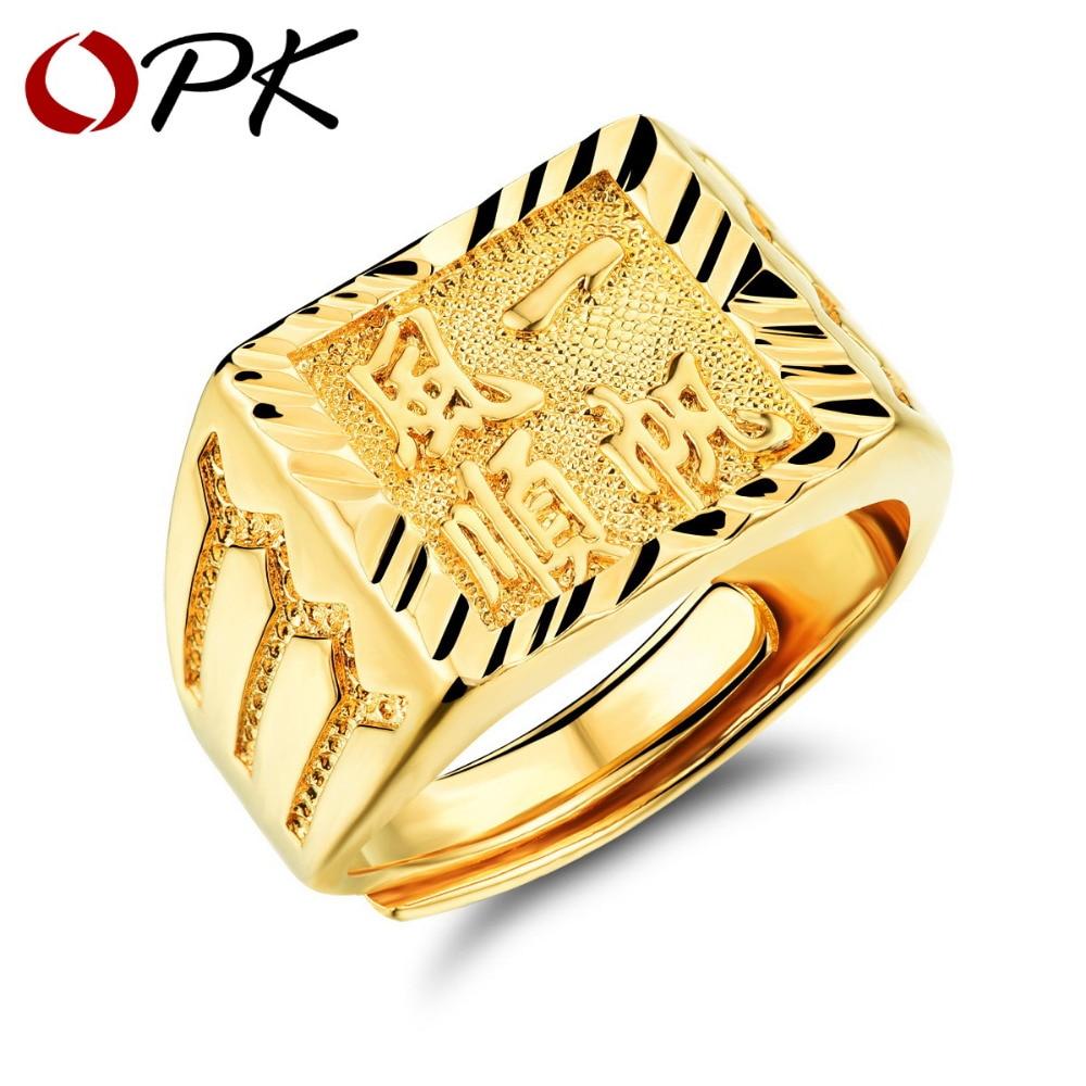 Us 499 Opk Gold Ring Männerfrauen Geschenk Großhandel Gold Farbe 14mm Breit Klassische Gold Hochzeit Bands Ringe Für Männer Schmuck Kj034 In