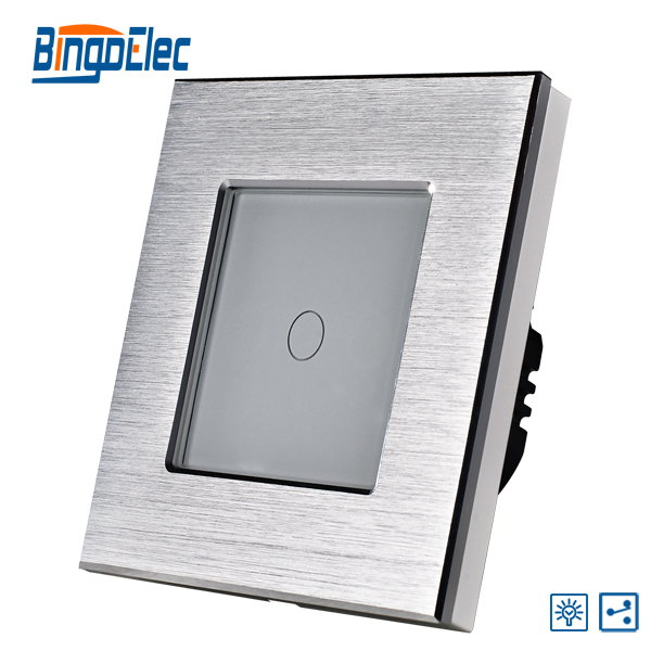 EU/UK 1gang 2way dimmer light switch,silver aluminum and glass panel touch switch,  AC110-240V,Hot Sale 1gang 1way touch remote dimmer switch glass panel touch dimmer light switch eu uk standard ac110 240v hot sale