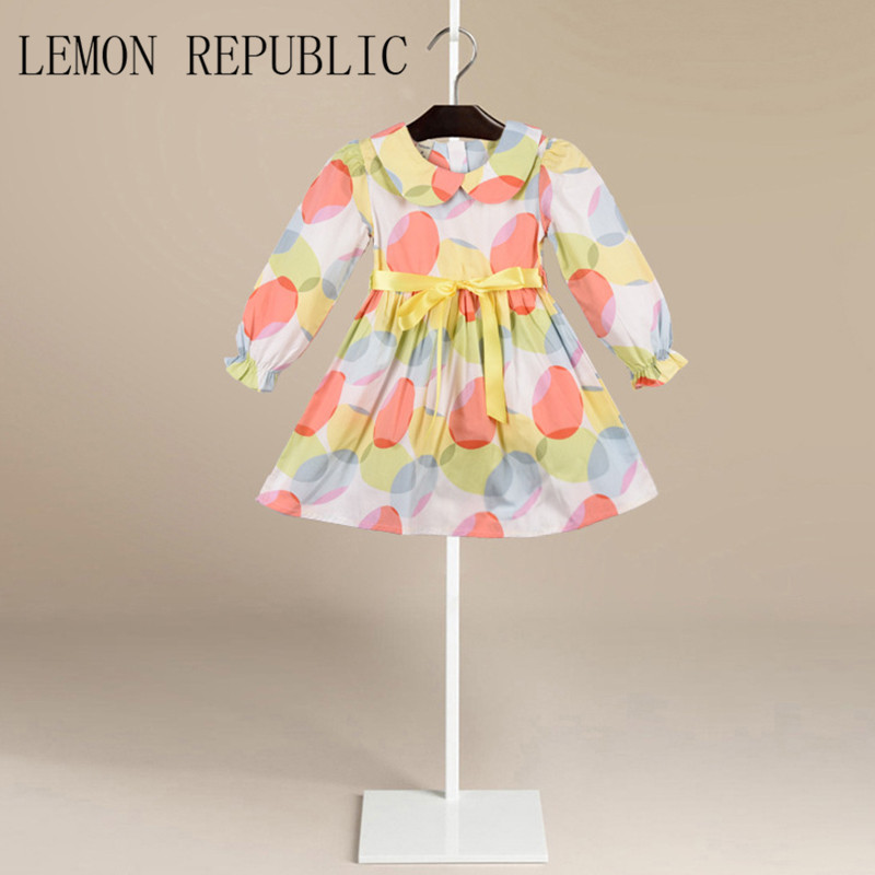 Fashion Girls Dresses Summer Brand Princess Dress Girl Clothes Floral Print Robe Fille Enfant Kids Dresses Child Costumes LD-016 childrendlor baby brocade floral print toddler girl dress carretto 2017 a line princess dresses kids clothes robe fille enfant