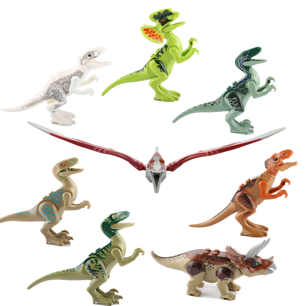 8pcs / lot legoeINGly Jurassic World Dinosaurs Building Blocks Tyrannosaurus Mini Mursten Figurer Børne Legetøj For Børn Juguete