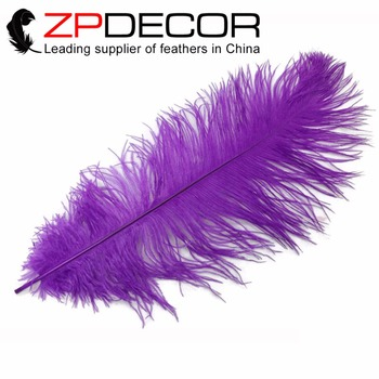 ZPDECOR 50 pcs 35-40cm(14-16inch)Hand Select Fluffy and Smooth Purple  Dyed Ostrich Plumes Feathers for Wedding Decor Feathers