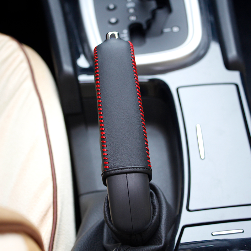LS AUTO Top Genuine Leather Case For Handbrake For Citroen C4L Hand Brake Cover Top Layer Leather Cover Handbrake  Interior