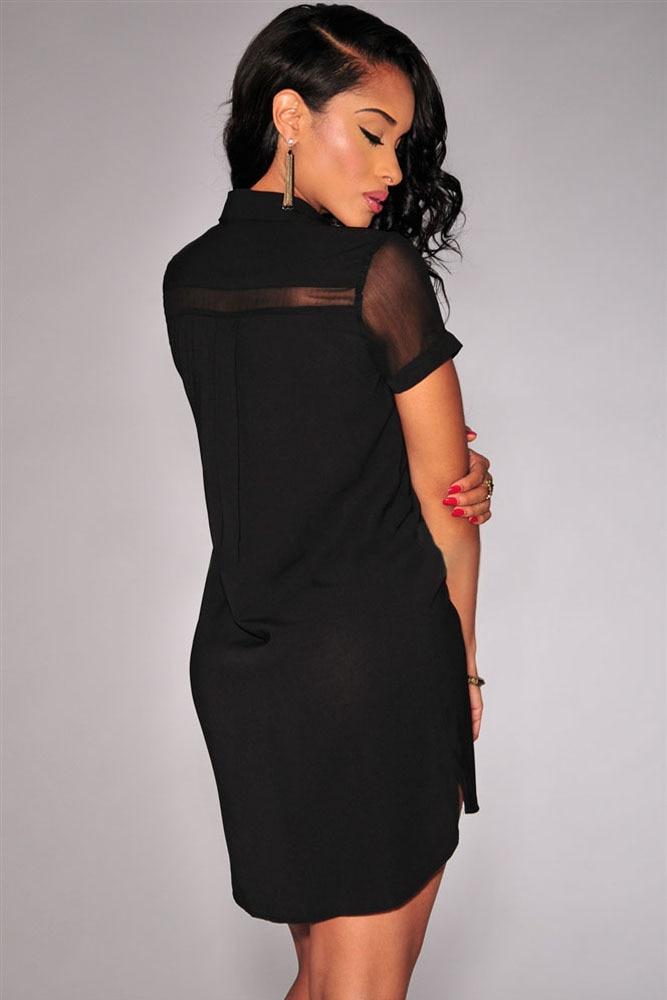 Black and white sheer shirt dress