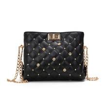 2019 Fashion Plaid Handbags High quality PU Leather Women bag Rivet Simple Luxury Chain Tote Shoulder Crossbody Messenger bags цена в Москве и Питере