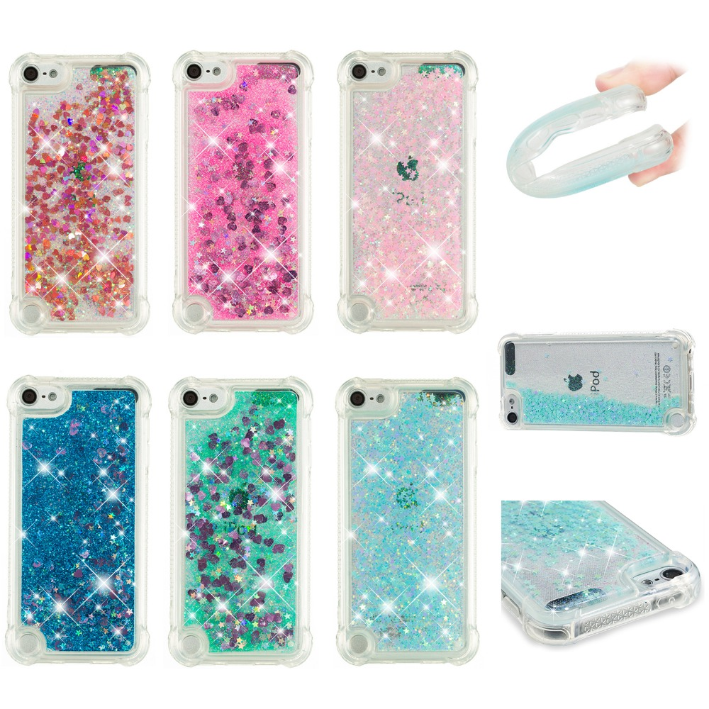 2018 Hot Luxury Glitter Phone Case For iPod Touch5 Touch6 Bling Dynamic Quicksand Soft TPU Back Cover Coque phonecase