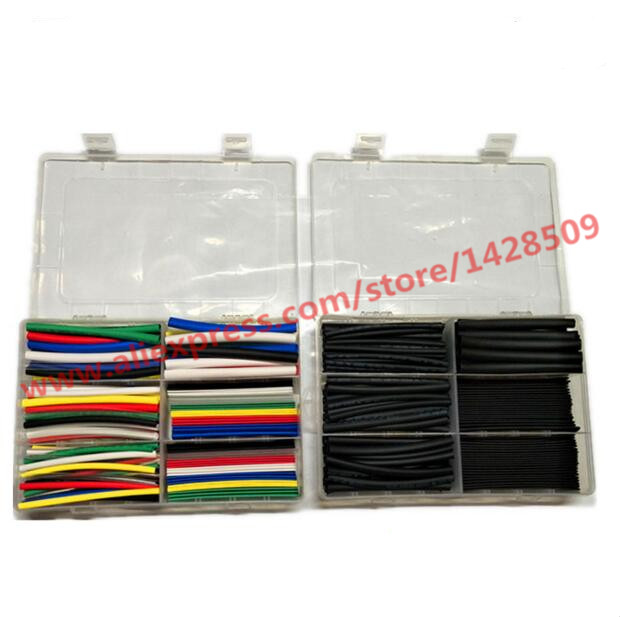 High Quantity 2:1 Polyolefin Colour And Black Heat Shrink Tubing Tube Sleeving Wrap Wire Kit Cable