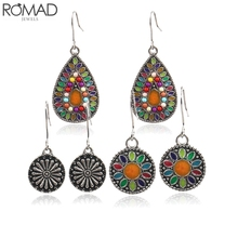 ROMAD 3 Pairs/Set Vintage Bohemian Drop Earrings for Women Boho Ethnic Dangle Antique Flower Jewelry R5