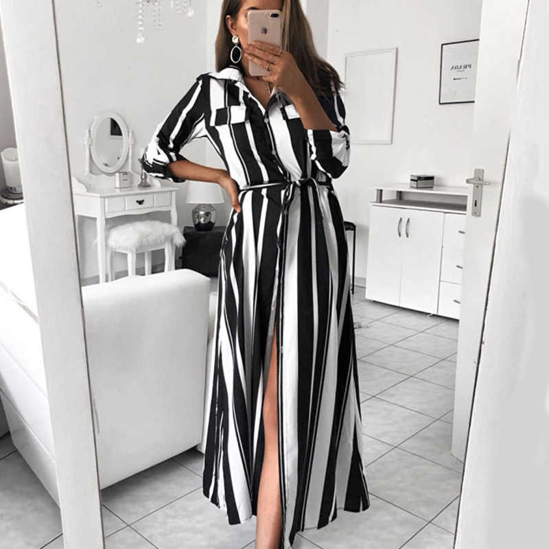 1f763265609c1 Women Sashes Striped Straight Sexy Party Dress Ladies Seven Sleeve Turn  Down Collar Elegant Dress New Fashion Women Long Dress