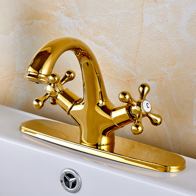 ΞModern Style Golden Soild Brass Bathroom Sink Faucet Single Handle ...