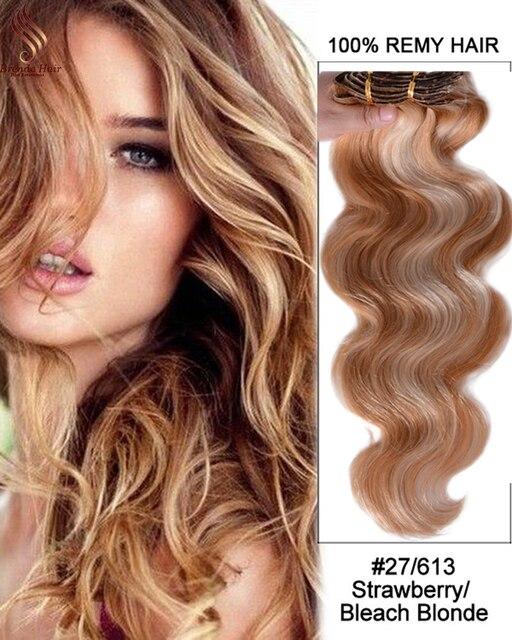 Golden Blonde 27/613 clip en extensiones de cabello 120 Remy extensiones del pelo humano para las mujeres negras del pelo humano virginal Brasileño Clip-Ins