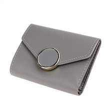 Women PU Leather Short Wallet Flip Round Button Card Holder Clutch Purse Button Purse Mujer Cartera Coin Purse Coin Pocket