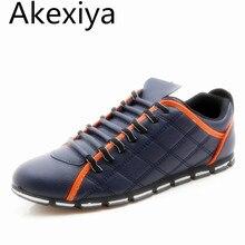 Akexiya 2017 Haute Qualité Hommes PU En Cuir Appartements Lace Up mode Casual Sport Jogging Plat Chaussures Mocassins Doux Lumière Mâle chaussures