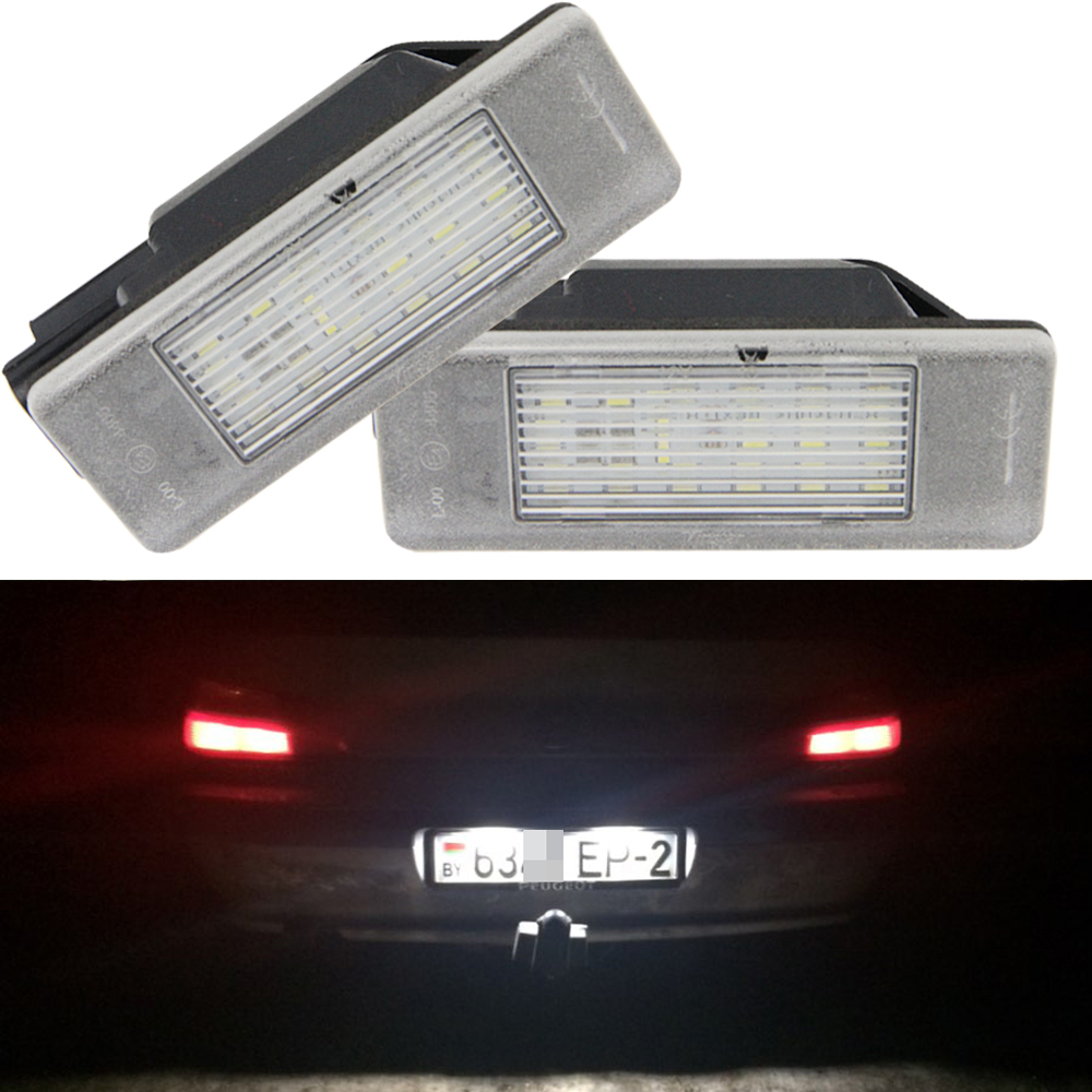 2x 18 3528 SMD LED License Number Plate Light Lamps Car Light Source fit Citroen Berlingo C2 C3 Pluriel C4 C5 C6 for Peugeot 2x 24 smd led error free license plate light for bmw 1 series e82 e88 e39 e61n car light source