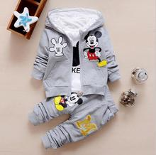 2016 New Chidren Kids suits Clothing Set Autumn Winter 3 Piece Sets Hooded Coat Suits Fall Cotton Baby Boys Clothes Mickey