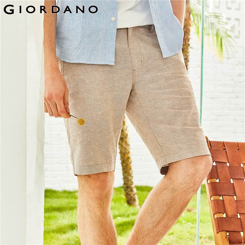 Giordano Men Shorts Men Natural Linen Cotton Mid Low Rise Short Masculino Zip Fly Button Casual Shorts Men Pocket Bermuda
