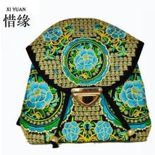 XIYUAN МАРКА 2016 новый национальный ветер вышивка рюкзак этнической ткани, женская цветок черный вышивка рюкзак