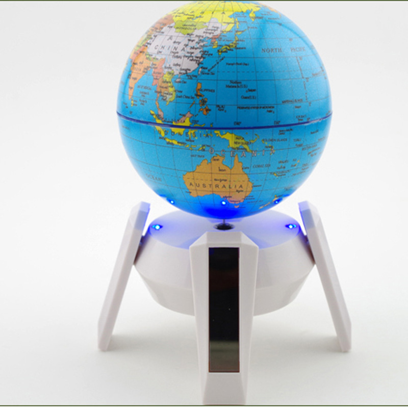 Solar world globe with LED light 360degree auto rotate display