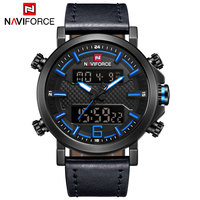 NAVIFORCE 2018 Fashion Men Watch Dual Display Watches Military Army Leather Band Digital Watches Men Style 30M Waterproof Clock