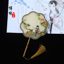 Suzhou Birds flowers  embroidery palace fan pure hand boutique double-sided group Chinese style