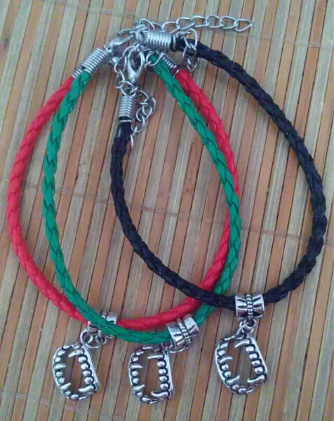 Fashion Summer style Kabbalah Multicolor Braided leather cord Ancient Silver TEETH Charm Lucky Bracelet&Bangles DIY Jewelry A13