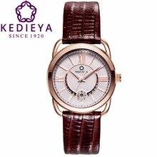 Kedieya часов женщины натуральная кожа обнять звезда луна отображения даты водонепроницаемые Miyota кварцевые часы женские часы из розового золота
