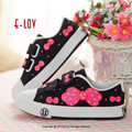Hand-painted cute girl& bowknot3 children casual shoes Hook&Loop closure type Kids canvas shoes environmental protection pigment
