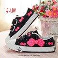Mão-pintado bonito da menina & bowknot3 crianças casual shoes hook & loop closure tipo de lona dos miúdos shoes proteção ambiental pigmento