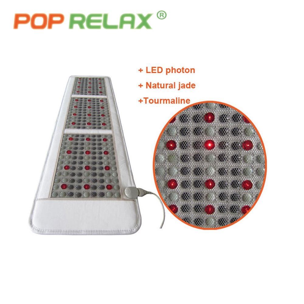 POP RELAX Korea quality health mattress jade tourmaline LED photon light therapy heating physiotherapy mat FIR stone massage mat pop relax negative ion magnetic therapy tourmaline mat pr c06a 55x120cm ce