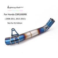 For 2008 2011 2013 2016 Honda CBR1000RR Exhaust Pipe Motorcycle Titanium Alloy 61mm Middle Link Pipe Slip On US Edition Blue