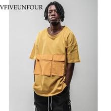 VFIVEUNFOUR Vintage 2019 New Arrivals Summer Hip Hop Front Pocket Short Sleeve Shirts Streetwear Men Casual Harajuku T