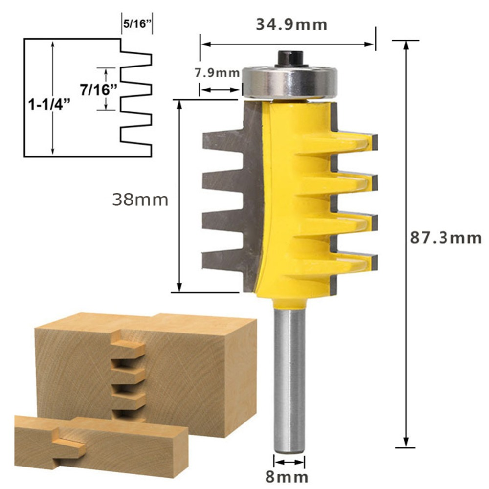 8mm Shank Rail Reversible Finger Joint Glue Router Bit Tenon Woodwork T Groove Milling Cutter DIY Woodworking Milling Cutter