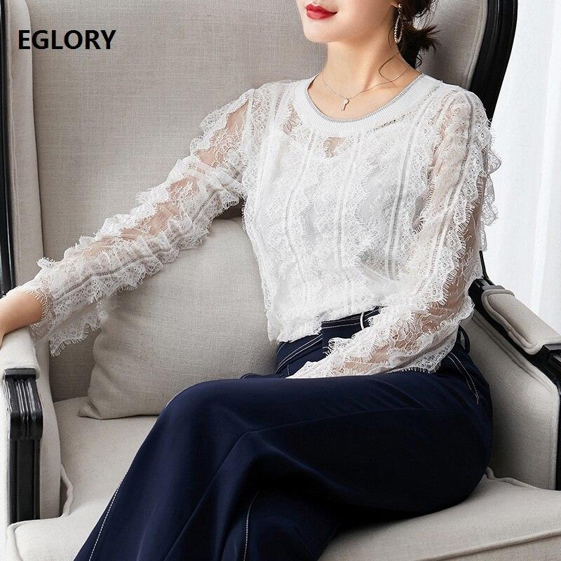 Haute qualité Blouses en dentelle 2019 automne à manches longues hauts femmes Allover Crochet dentelle élégant blanc hauts noirs femme Sexy Blusas