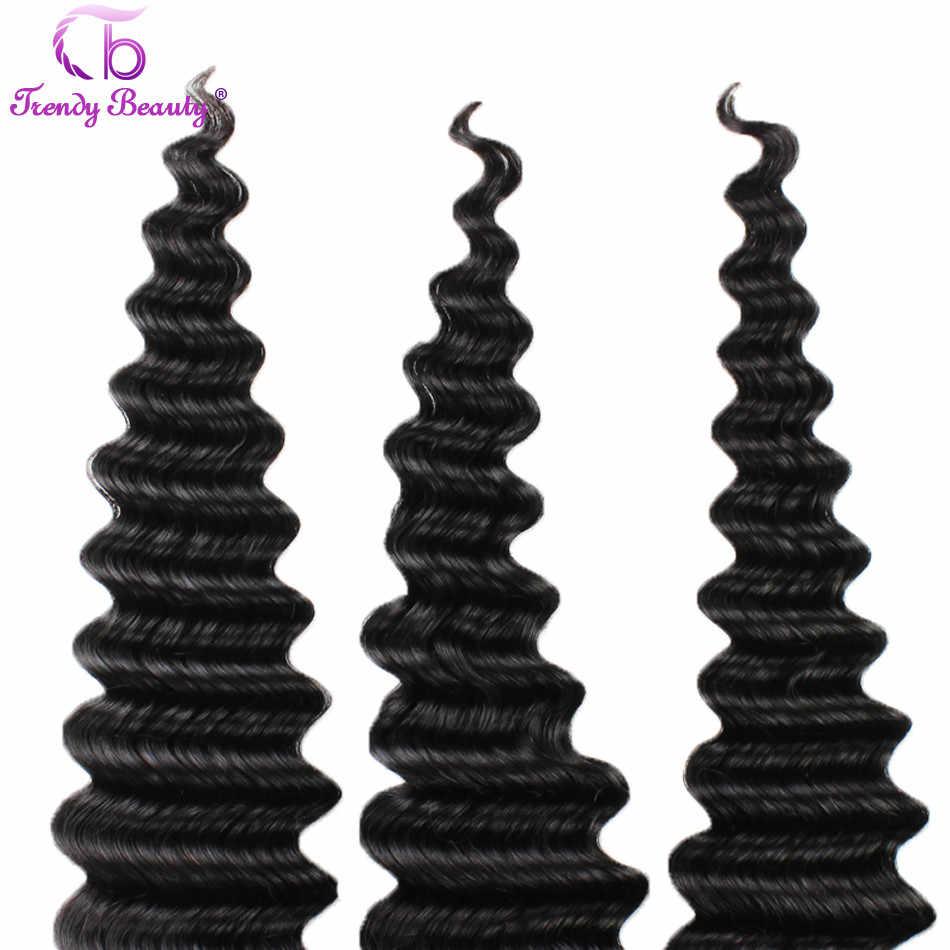 Trendy Schönheit Haar Peruanische Tiefe Welle 3 Bündel Pro Los 100% Nicht-Remy Menschenhaar-verlängerung Weave Natürliche schwarz farbe Freies Verschiffen