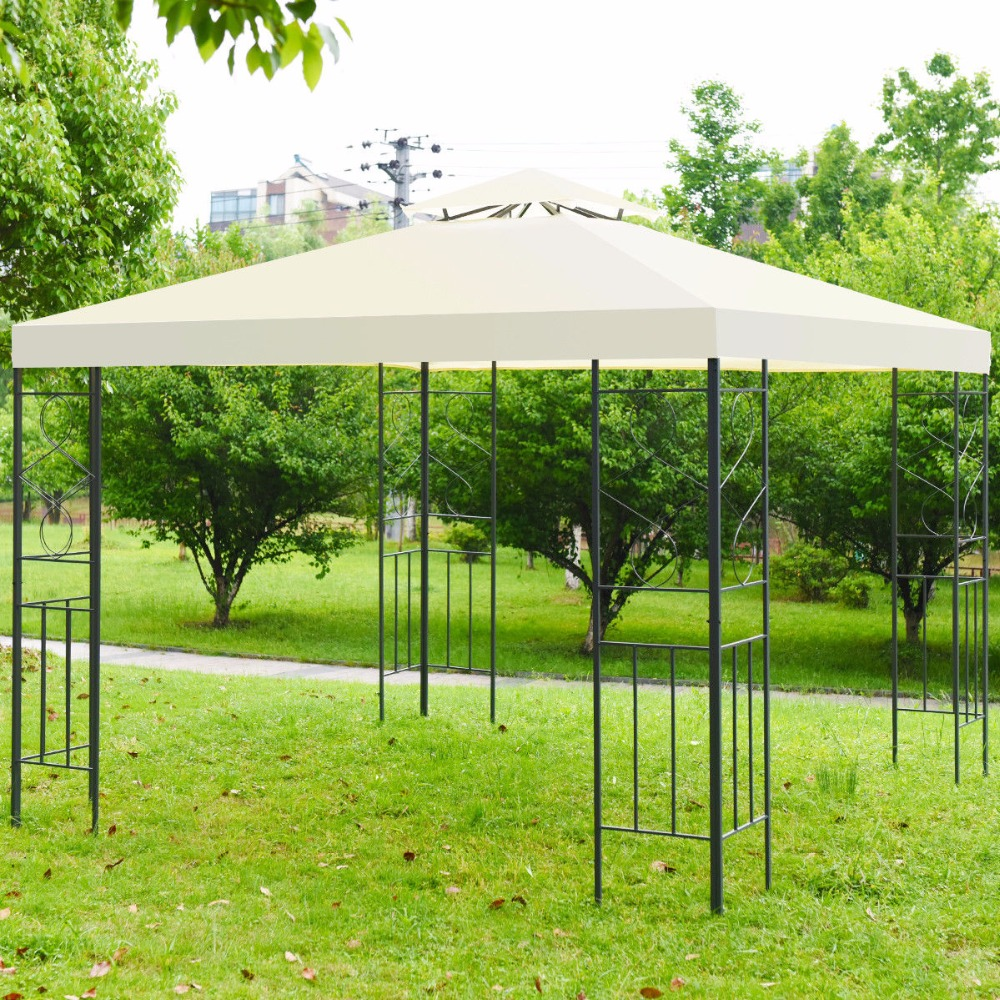 Giantex 2 Tier 10'x10' Patio Gazebo Canopy Tent Steel Frame Shelter Awning Outdoor Furniture OP3516 yp100200 100cmx200cm 100x300cm 100x600cm door canopy window awning for balcony garden gazebo patio cover sun shape rain shelter