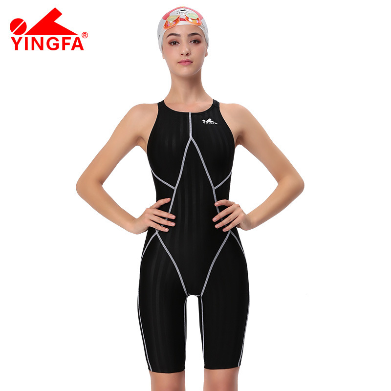 Yingfa FINA Approval Professional swimming Training costumes women knee Swimsuit Sports one piece Competition knee length competition racing one piece swimsuit