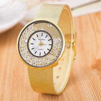 woman watch 2019 Luxury Brand Gold Crystal Wrist Watches For Women Fashion Stainless Steel Quartz Watch Ladies Watch Clock