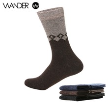 WANDER Men's Rabbit Wool Blended Mens Autumn Winter Assorted Colors Warm Socks Deodorant Soft  Business Casual Striped Male Sock