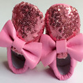 Hot sale Soft Sole 8 colors PU Leather Baby Bowknot First Walkers Newborn Bling Moccasins Toddler Kids Indoor Shoes