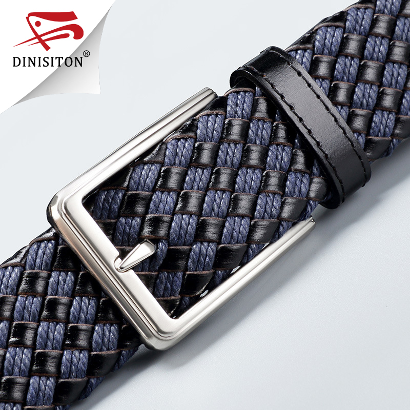 DINISITON Genuine Leather Belt For Man High Quality Designer Woven Belts First Layer Cowhide Male Strap Cuaual Cowboy LU369