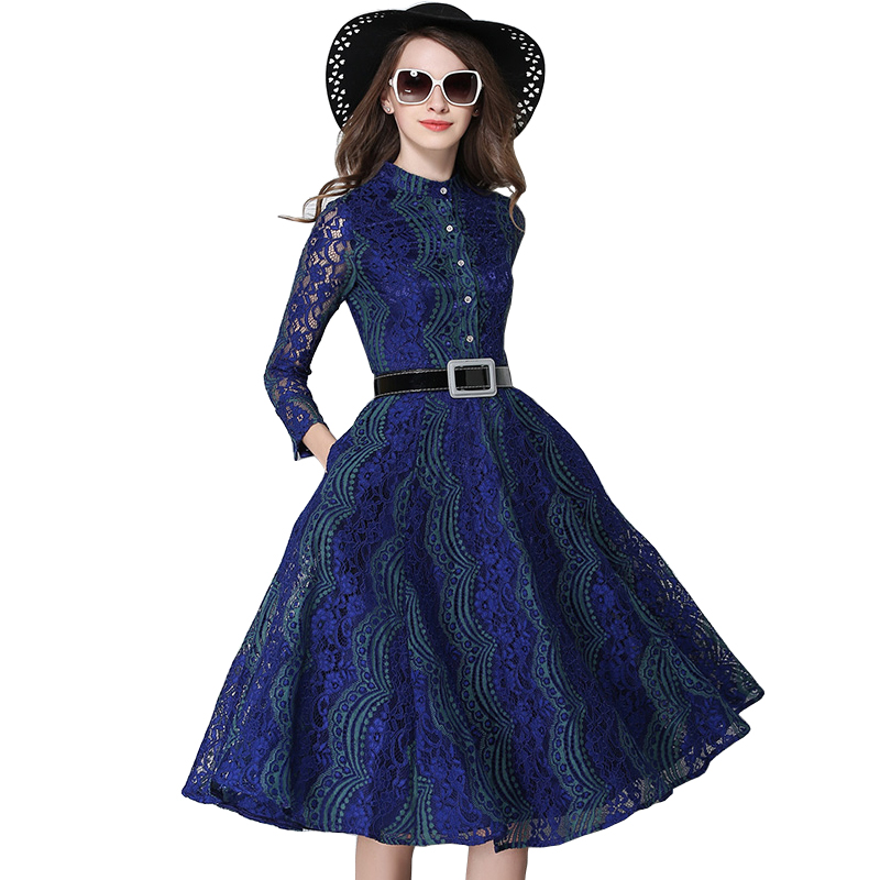 Robe Tunique Belted Fit And Flared Stand Collar Hollow Out Long Sleeve Lace Dress Women Jurken