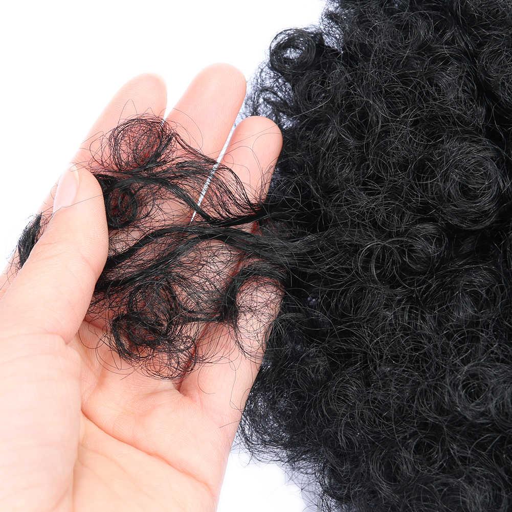 FAVE синтетический слоеный афро кудрявый зажим в шиньон расширение черный/синий/фиолетовый для черных женщин короткие волосы булочка шнурок