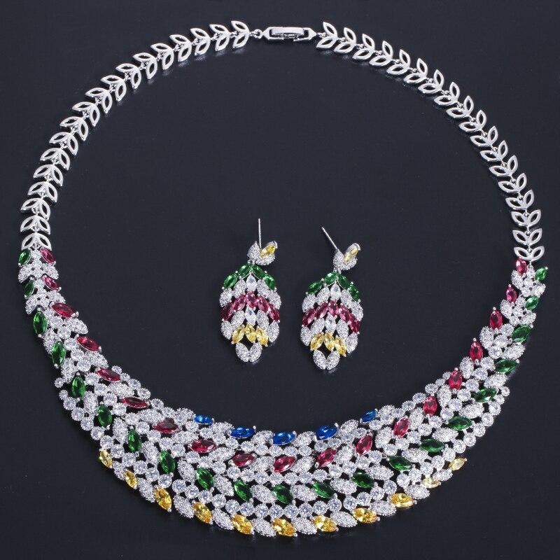 CWWZircons błyszczące wielu kolor cyrkonia duży ciężki naszyjnik dla nowożeńców biżuteria ustaw dla panny młodej suknia ślubna akcesoria T178 w Zestawy biżuterii ślubnej od Biżuteria i akcesoria na  Grupa 2