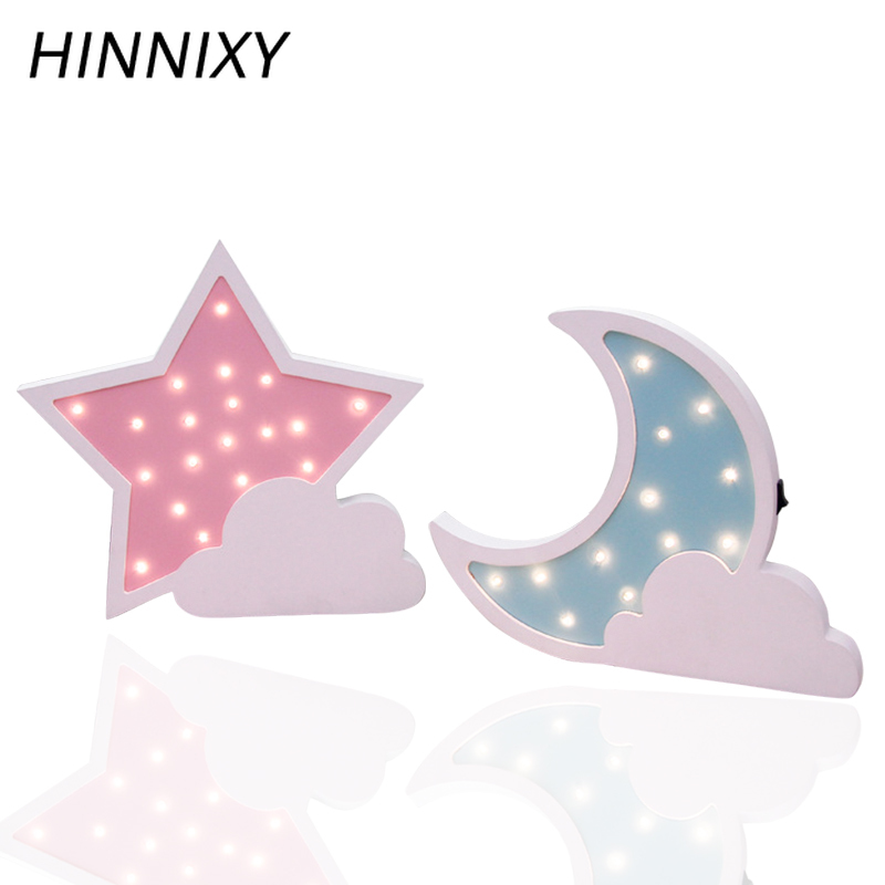 Hinnixy Star Moon Light Lovely Figurine Wooden Baby Bedroom Home Decorstion Accessories Light Fixtures Children' s Night Lamps