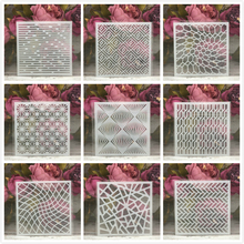 "Buy 9Pcs/Set 5"" Geometry Matrix DIY Layering Stencils Painting Scrapbook Coloring Embossing Album Decorative Card Template directly from merchant!"