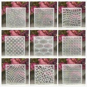 "9Pcs/Set 5"" Geometry Matrix DIY Layering Stencils Painting Scrapbook Coloring Embossing Album Decorative Card Template(China)"