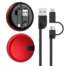 2 In 1 USB Cable for IPhone XS Max X 8 7 6 Plus 6s Samsung S9 one plus 5t Xiaomi Huawei Retractable Charging Cable for IPad Air
