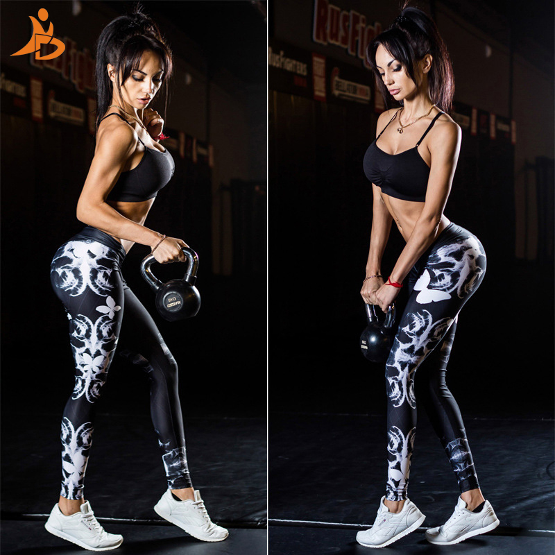 YD új lányok nyomtatott hosszú jóga nadrágok nők sport - Sportruházat és sportolási kiegészítők - Fénykép 1