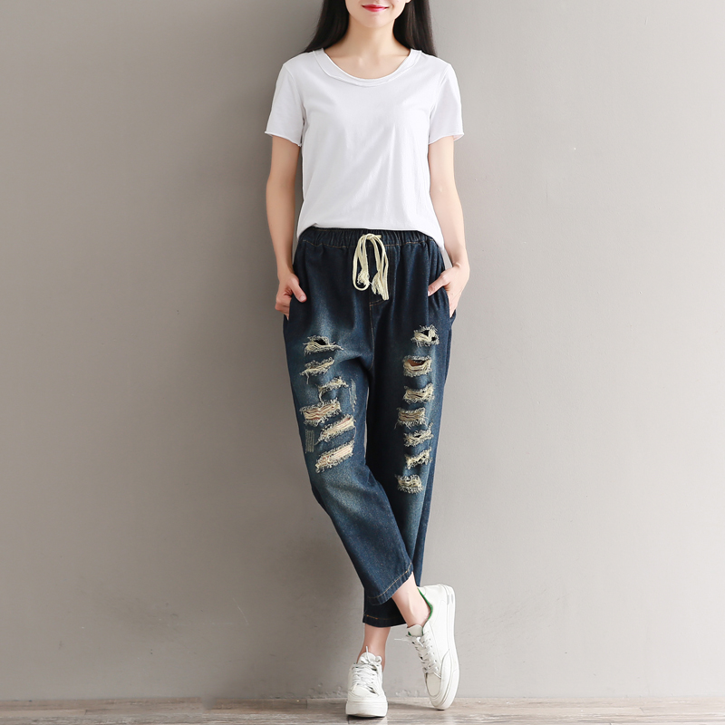 2017 Spring Autumn Jeans Women Preppy Loose Elastic Waist Ripped Holes Plus Size Denim Pants Ankle-length Harem Trousers Female loose ankle length jeans for women 2017 new vintage distressed high waist ripped denim harem pants woman trousers plus size