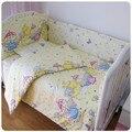 Promoción! 6 unids cuna kit berco ropa de cama de bebé llua jogo de cama kid, incluyen ( bumpers + hojas + almohada cubre )