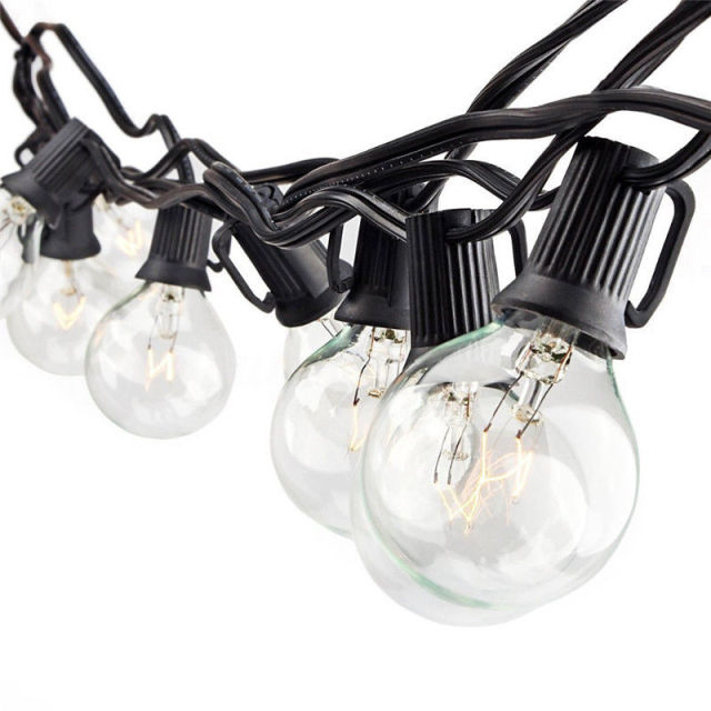 G40 25 LED Bulb Globe String Lights With Clear Bulb Backyard Patio Lights  Vintage Bulbs Decorative